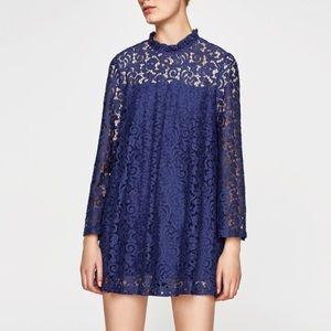 Zara Blue Lace Romper Dress